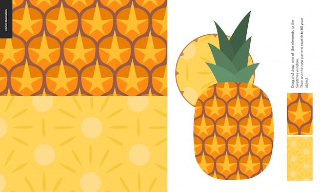 Food pattern, fruit, pineapple