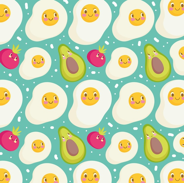 Food pattern funny happy cartoon fried eggs avocados and tomato vector illustration