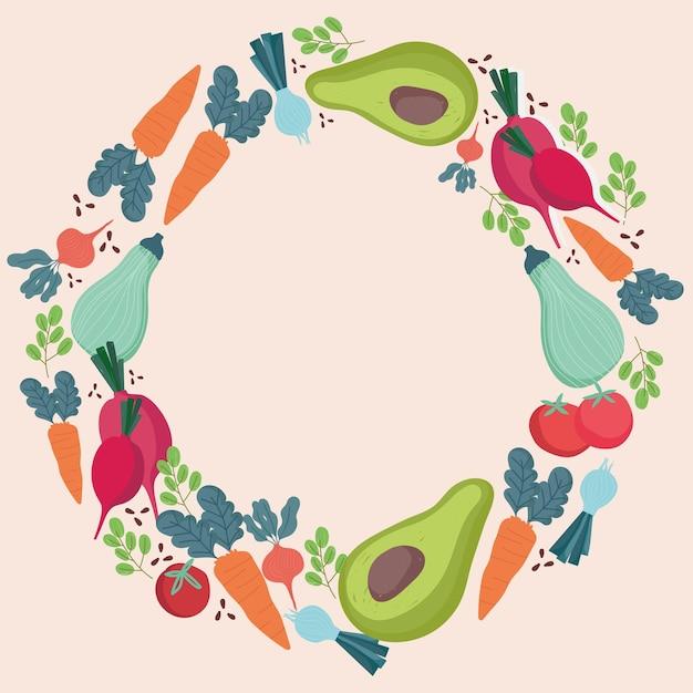 Еда из свежих овощей включает морковь, лук, редис, круглую иллюстрацию