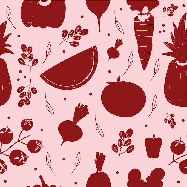 Food pattern red silhuette vegetables and fruits background  illustration