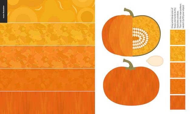 Food pattern, vegetable, pumpkin