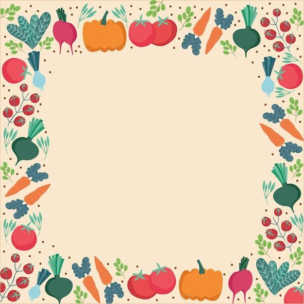 食品パターン、野菜の枝の葉新鮮なボーダー装飾イラスト