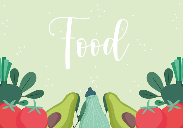Food pattern with avocado tomato pumpkin and herbs design illustration