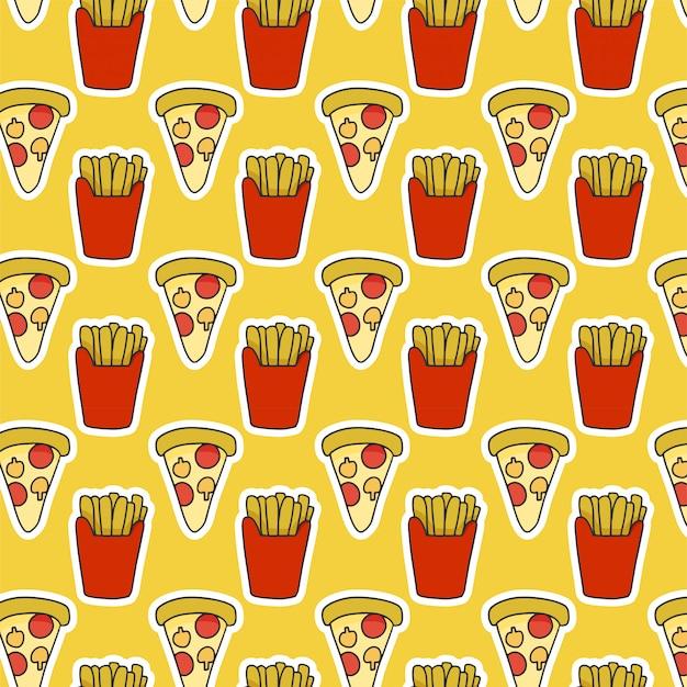 Еда шаблон с картофелем фри и пиццей