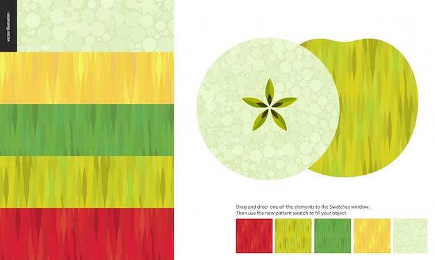 食品パターン、果物、リンゴ