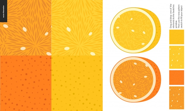 Food patterns, fruit, lemon and orange