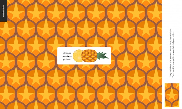 Food patterns - fruit, pineapple texture - a seamless pattern of pineapple rind peel full of yellow orange spines