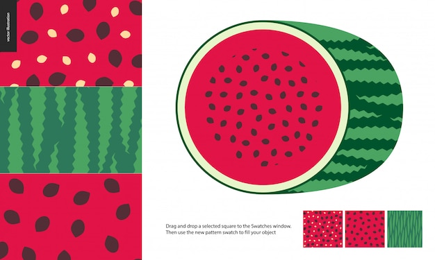 Food patterns, fruit, watermelon
