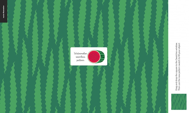 Food patterns, summer - fruit, watermelon texture, melon, light green and dark green, half of watermelon image in center, peel, skin, outside form - a seamless pattern of watermelon rind