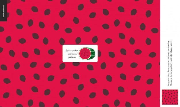 Food patterns, summer - fruit, watermelon texture, melon - a seamless pattern of watermelon flesh pulp full of black seeds