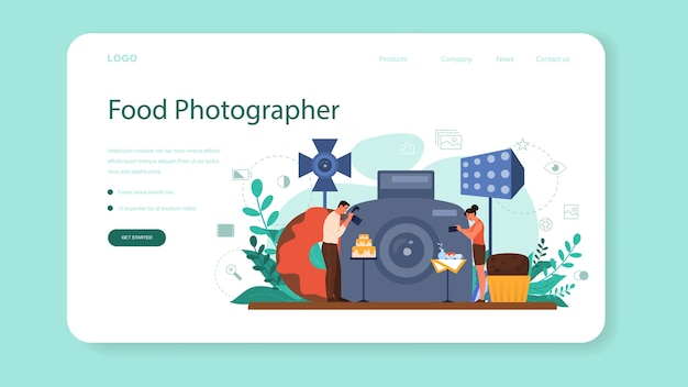Food photographer web banner or landing page