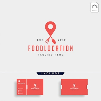 Food pin navigation simple flat luxury logo icon element