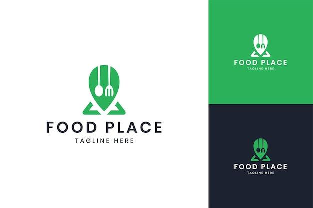 Food place negative space logo design
