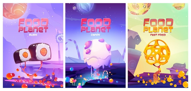Food planet posters with fantasy landscape with sushi fast food, candies and cheese trees