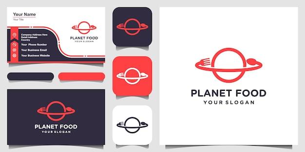 ラインアートスタイルのロゴと名刺デザインのフードプラネット。