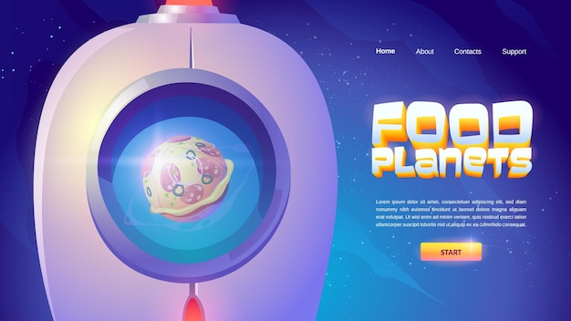 Food planets landing page with spaceship and sphere with pizza