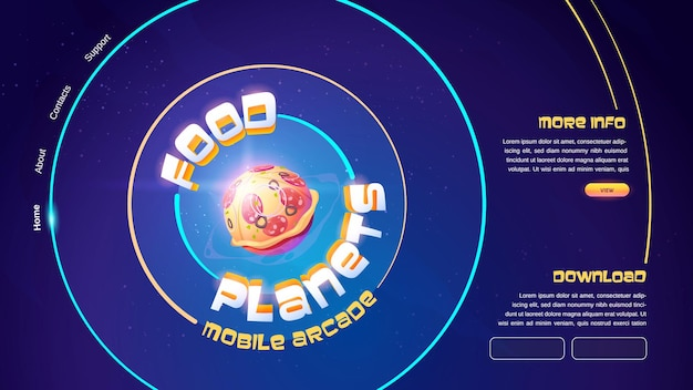 Food planets mobile arcade game banner