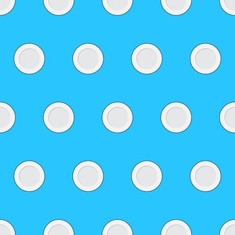 Food plate seamless pattern on a blue background. kitchen theme vector illustration