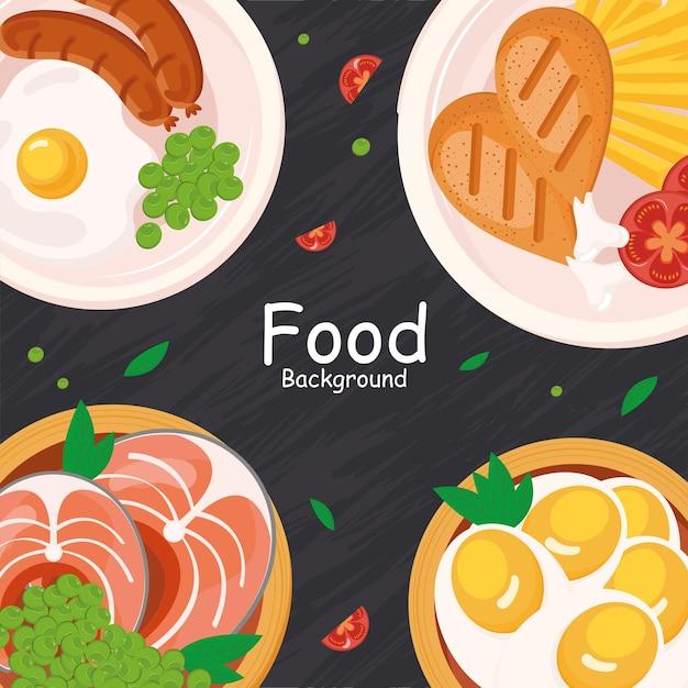 Группа иконок пищевых тарелок