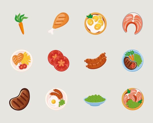 Группа символов пищевых тарелок