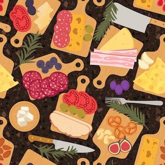 Food platter seamless pattern