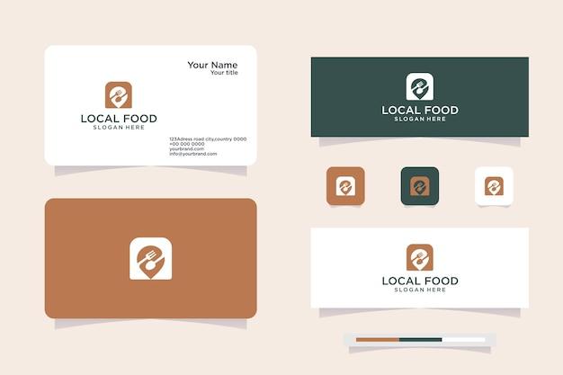카페용 스푼, 포크, 핀으로 구성된 푸드 포인트 로고 세트, 로고 및 명함 디자인