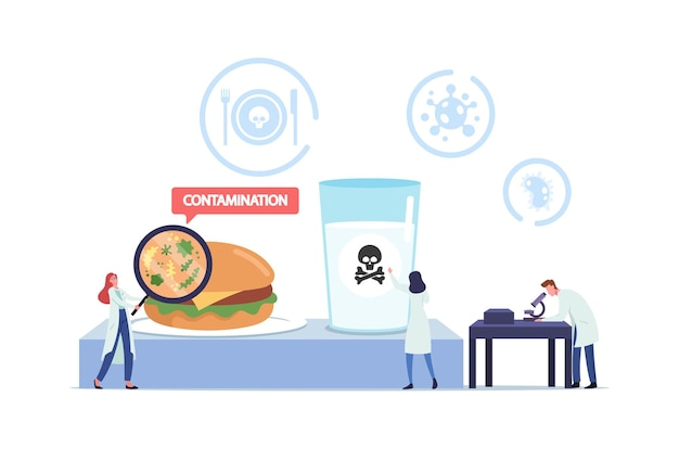Food poisoning, contaminated products concept. tiny doctors characters with huge magnifier and microscope research infected ingredients and water in laboratory. cartoon people vector illustration