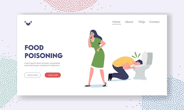 Food poisoning landing page template. sick male and female characters nausea and vomit in toilet bowl after eating poisoned meal. people gastrointestinal problem. cartoon vector illustration