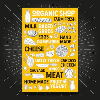 Food poster drawing organic market farm fresh. sketch hand drawn