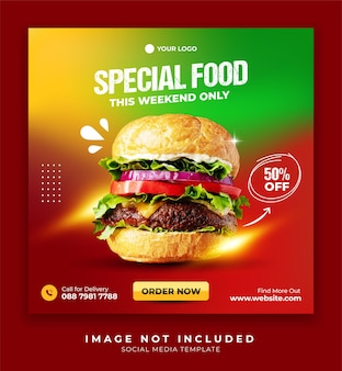 Food poster social media banner template