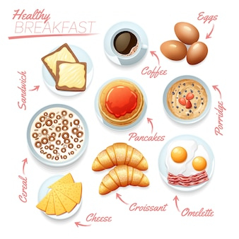 Food poster of various tasty healthy breakfast components on white background