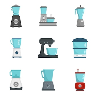 Food processor icon set