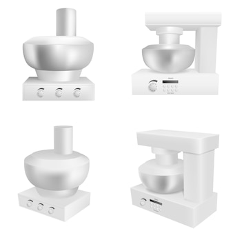 Food processor icons set, realistic style