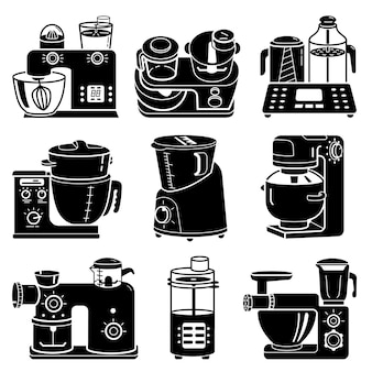 Food processor icons set, simple style