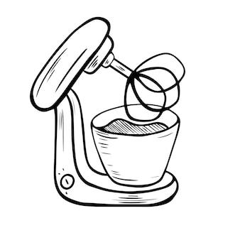 푸드 프로세서. 혼입. 전기 주방 기기. 요리, 주방 도구 - 낙서. 전기 기계. 주방 기기, 장비. 스케치 스타일의 벡터 일러스트