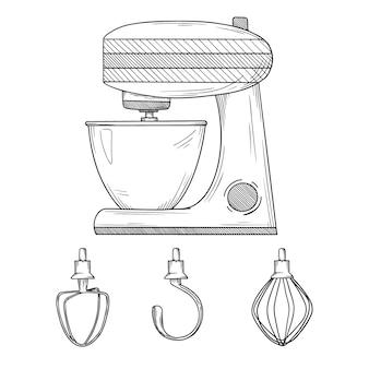 Кухонный комбайн с различными изолированными насадками. иллюстрации в стиле эскиза