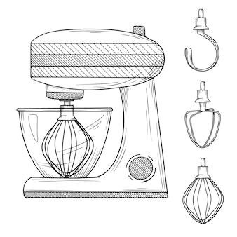 Кухонный комбайн с различными насадками на белом фоне. иллюстрация в стиле эскиза