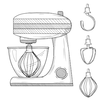 Food processor with different nozzles  on white background.  illustration in sketch style
