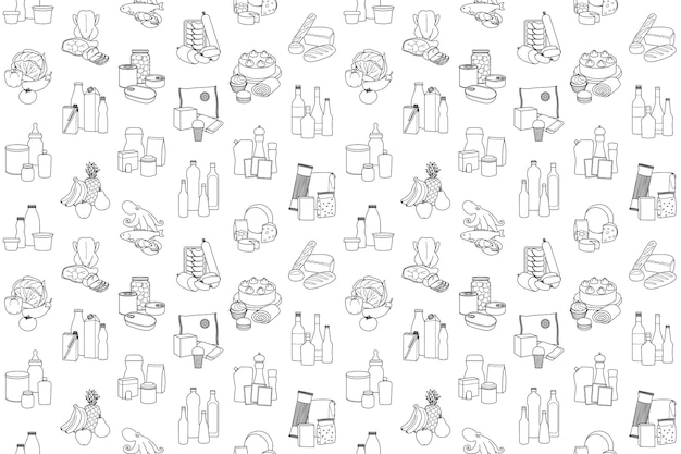Food product outline seamless pattern placed in categories supermarket meal coloring wallpaper Premium Vector