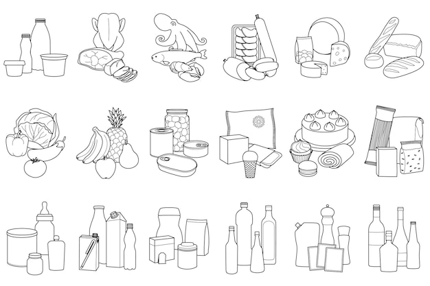 Food product outline set placed in categories on white background