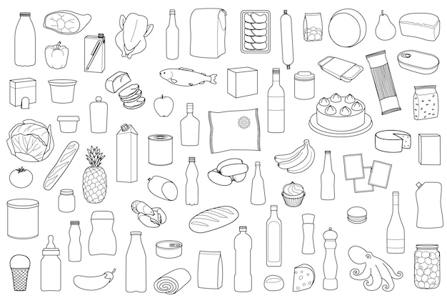 Food product outline set on white background coloring page with meal