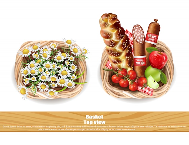 Food products basket and chamomile