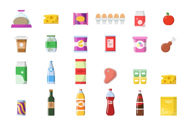 Food products icons. grocery basket meat soft drinks macaroni cheese yogurt bread vector shopping collection isolated