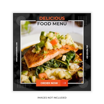 Food promotion social media post web banner template Premium Vector