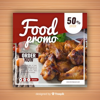 Food promotional banner with photo