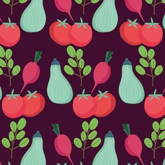 食品カボチャグリーントマト大根有機パターンイラスト