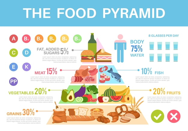 Food pyramid. nutritional value healthy eating triangle infographics, different groups organic products proteins, fats, carbohydrates and vitamins vector colorful poster