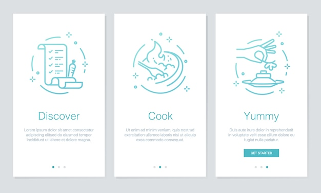 Food and recipes onboarding app screens.