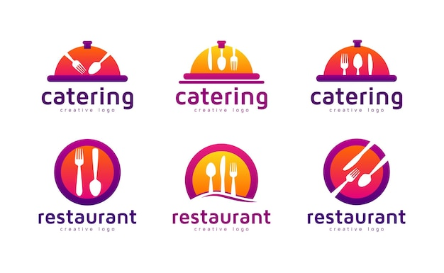 Food restaurant or catering logo collection set