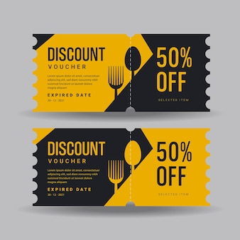 Food or restaurant discount voucher template perfect for boost your evect product discount with this discount voucher design template vector for food or restaurant